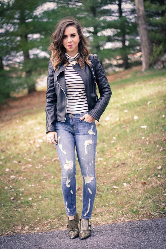 va darling. blogger. fashion blogger. dc blogger. current elliott distressed stiletto denim. tibi  booties. zara faux leather jacket. jcrew stripe turtleneck 5