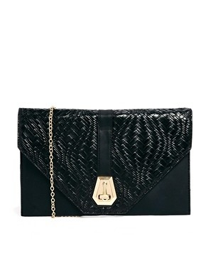 asos liqourish black evening clutch bag
