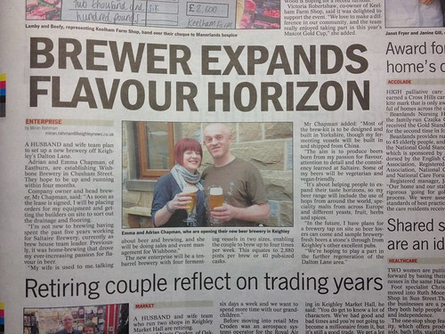 Wishbone Brewery In the Keighley News