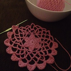 Not going to be able to finish this round tonight. #crochet #lace #doily #pink