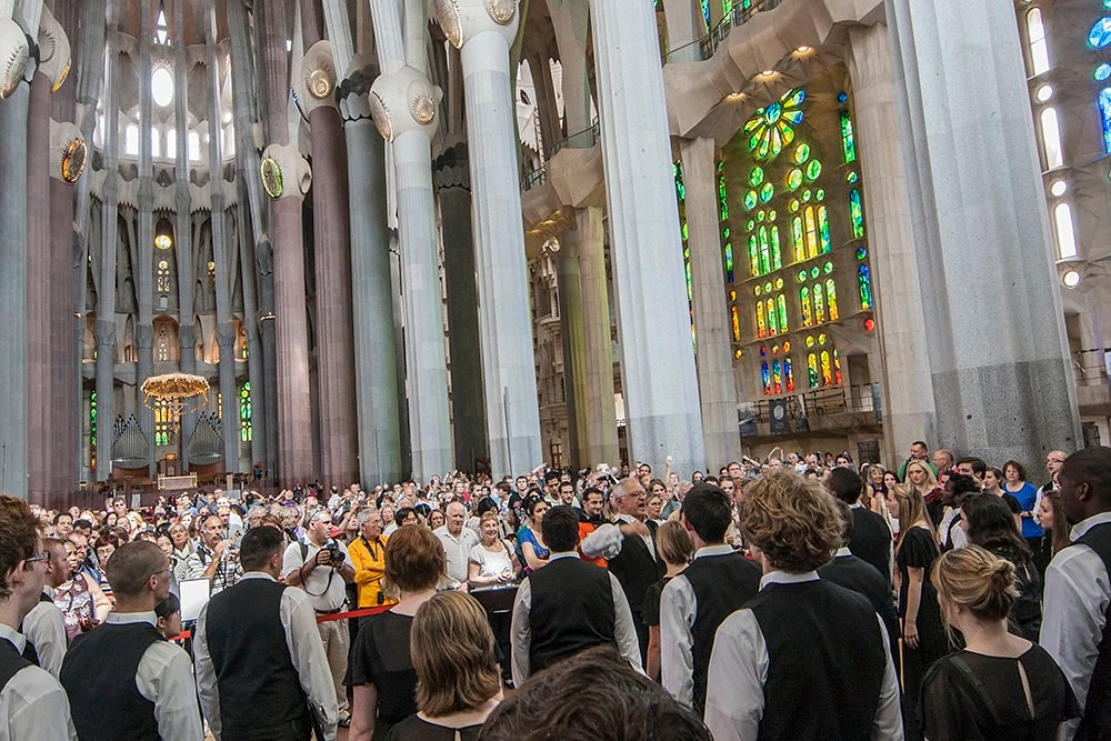 Berea College Concert Choir gives an informal recital in the Sagrada Familia in Barcelona, Spain