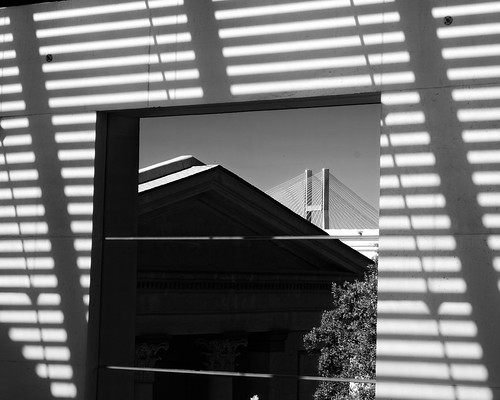 bridge urban bw window lines georgia square shadows view rooftops unitedstates savannah jepsoncenterforthearts