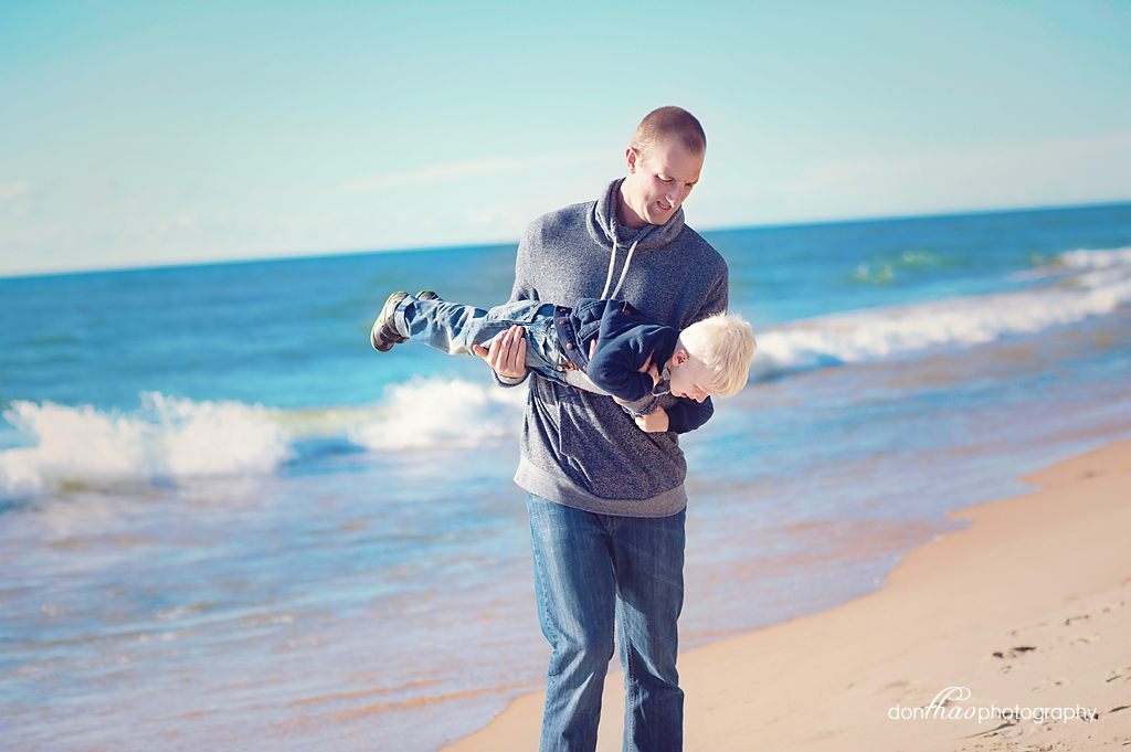 Dad and son beach photography