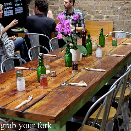 Communal table at The Black Groodle, Ultimo