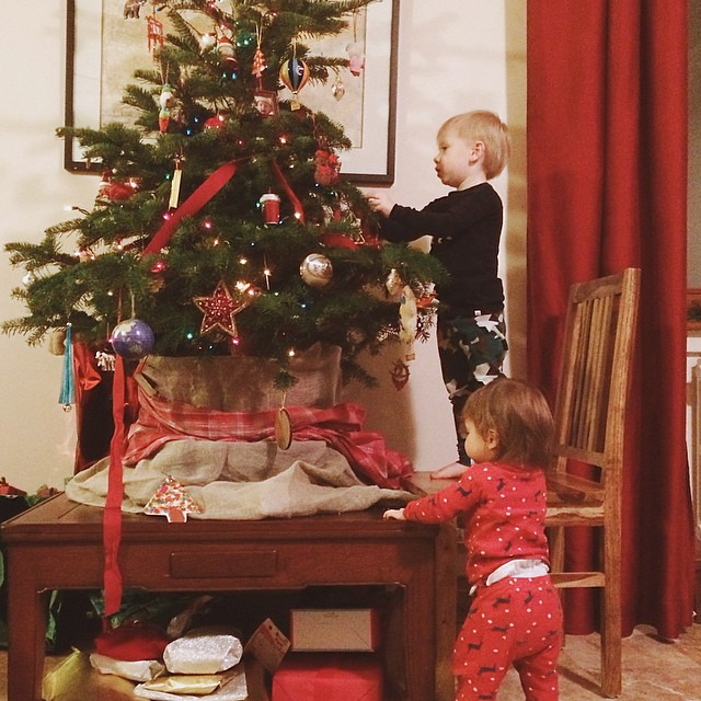 Some last minute redecorating for Santa. Someone was really excited tonight. #tistheseason #christmas2014