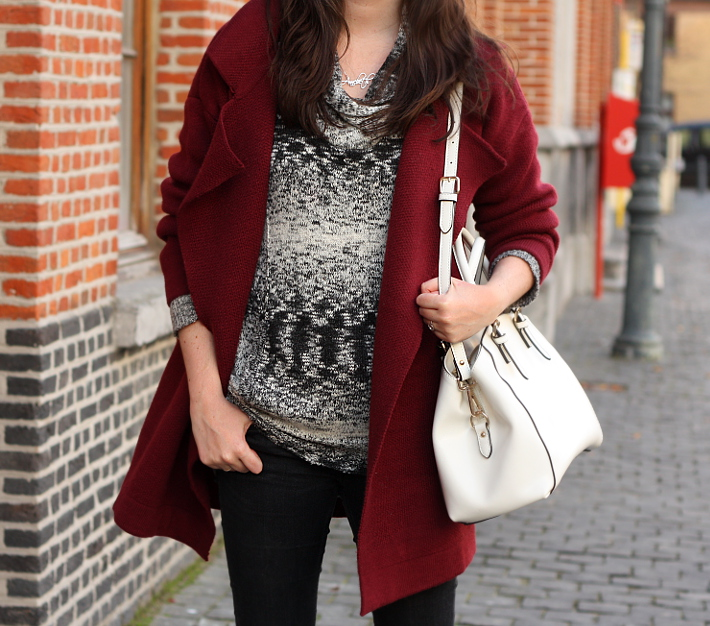 burgundy cardigan, marled sweater