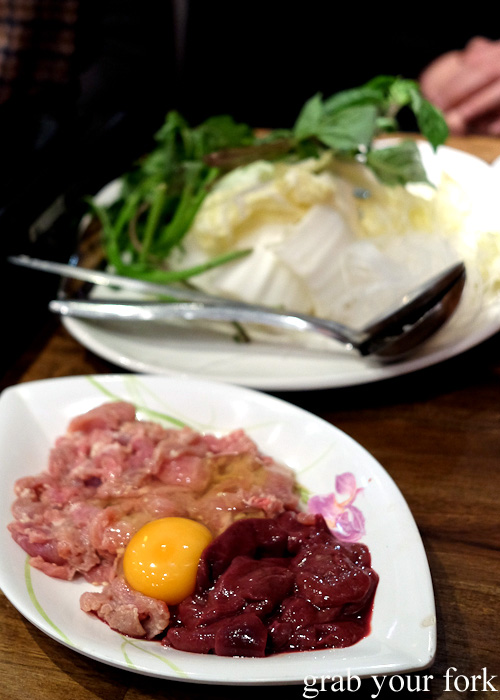 Mixed pork and liver set at E-San Saap Thai, Sydney