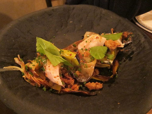 'Lady Hamilton' smoked cod, charred leeks, sorrel, fried bread