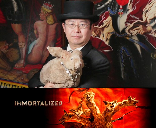 Dr. Takeshi Yamada and Seara (sea rabbit) as seen in the AMC unscripted TV series, IMMORTALIZED. 2013.  Xwho is TY, screenshot 10 76=102O. Yamada