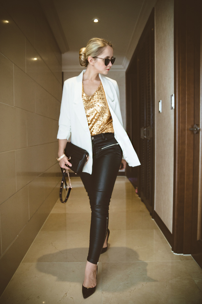 Olga choi fashion blogger myblondegal South Korea smart casual elegant ZeroUV cat eye sunglasses Sheinside gold sequin top Chicwish white blazer Choies leather pants Rebecca Minkoff MAC bag Michael Kors watch-07250