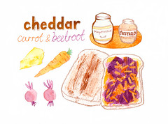 Cheddar carrot and beetroot sandwich