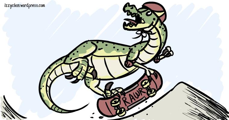 raptor skateboarding rawr