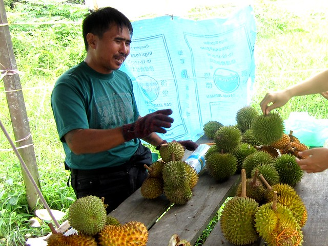 Durian seller at Durin Bridge