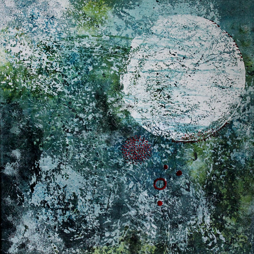 Cosmos Stitched Tissue Paper on Fabric by Patricia Chemin