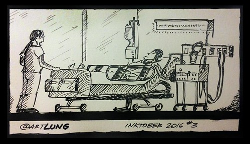 "#Inktober #3 2016 is autobiographical. The ""LUNG"" in ""ArtLung"" is from when I worked as a Respiratory Therapist."