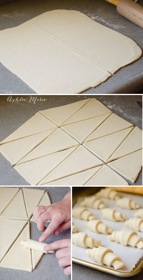 cutting large triangles and rolling them up is what creates the classic croissant shape