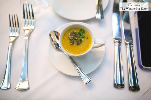 Spiced pumpkin soup, pumpkin seeds, ricotta