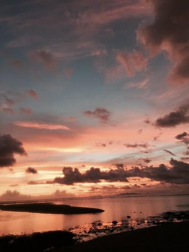 sunset red beach fiji island