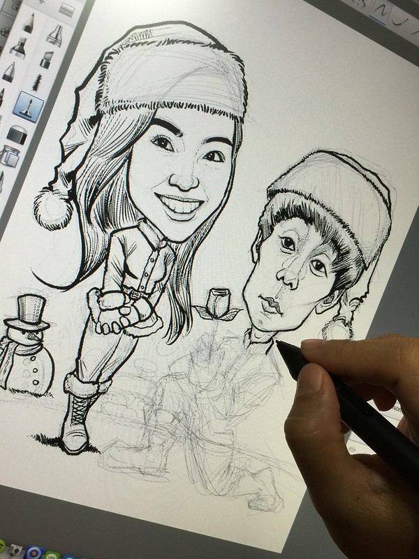 Digital couple caricatures celebrating White Christmas!