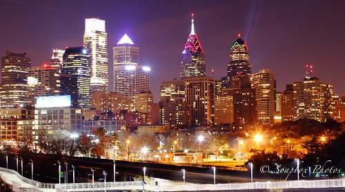 """Long Exposure of Philadelphia Skyline"""