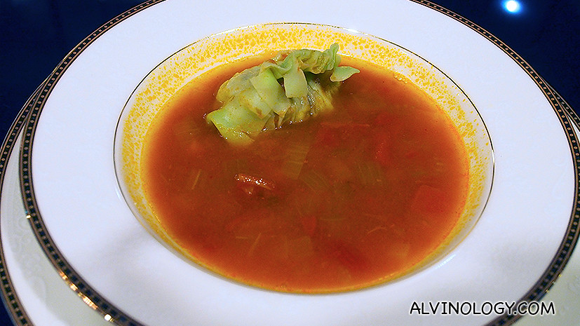 Clear Tomato Broth with Garbanzo -  tomato and chickpea with orzo pasta
