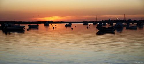 sunset seascape portugal water faro boats outdoor algarve waterscape lakescape riverscape j7599
