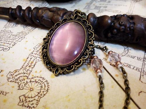 collier rose poudré - feuille et perles rose et cuivre (1)