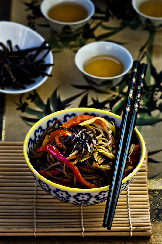 buckwheat noodles of a soba with vegetables.13