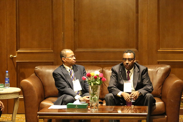 ILRI DG Jimmy Smith with HE Demeke Mekonnen, Deputy Minister of Ethiopia