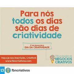 #Repost from @fbncriativos with @repostapp   —  #fbncriativos #negocioscriativos #empreendedorismocriativo #loveyourjob #ameseutrabalho #inspiração #inove #criatividade