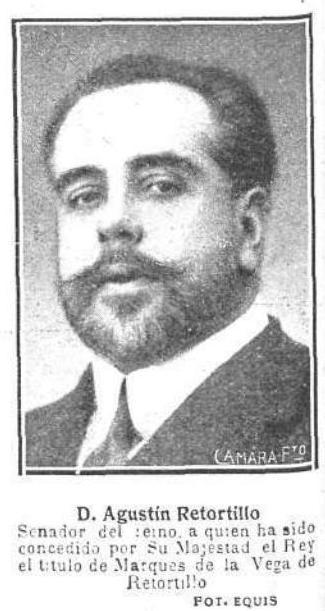 Agustín Retortillo y León, I Marqués de la Vega de Retortillo. Propietario del Cigarral El Bosque a comienzos del siglo XX. Foto publicada en Mundo Gráfico el 10 de enero de 1917