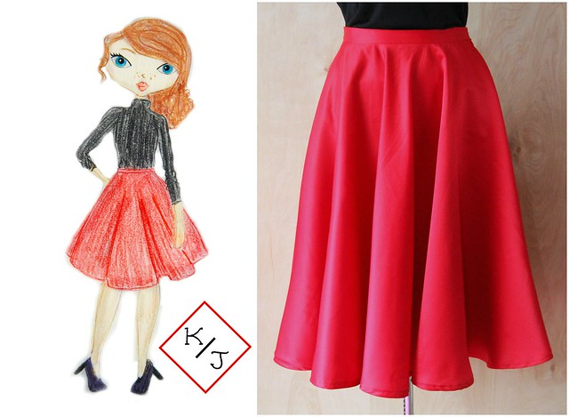 red midi skirt design via Kristina J blog