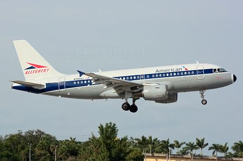 fortlauderdale airlines americanairlines allegheny usairways fll a319 retrojet a319112 kfll n745vj vistajet hertigejet