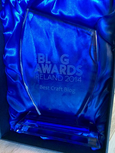 EvinOK.com's Best Craft Blog trophy from The Blog Awards Ireland 2014