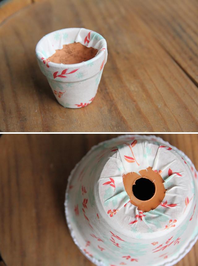 DIY Fabric Covered Terra Cotta Pots 5