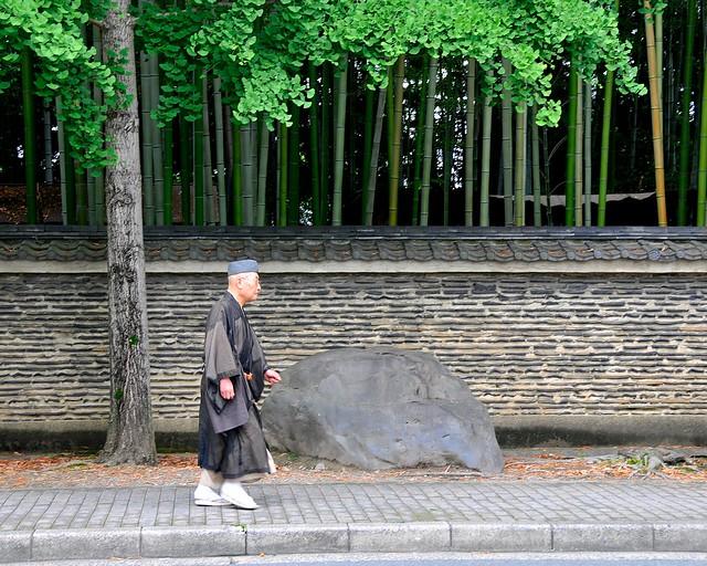 Monk walking by bamboo wall