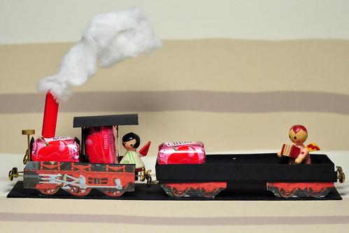 Praline Mon Cheri Zug Eisenbahn basteln Modellbau süß Weihnachten Engel Foto Brigitte Stolle