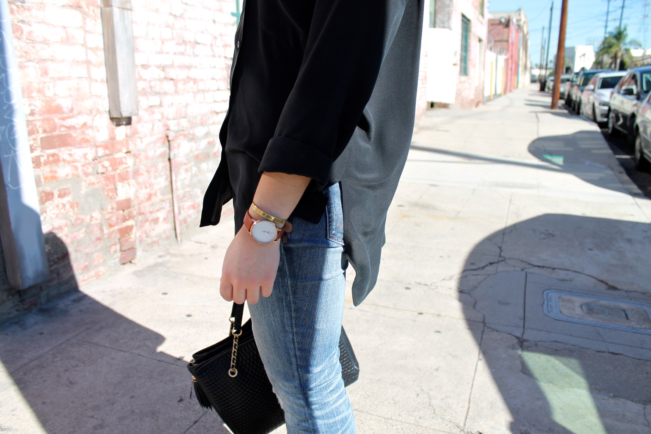 simple accessories: leather watch + gold bangle #style