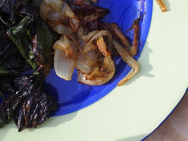 Side dishes - fried onions and sea beet
