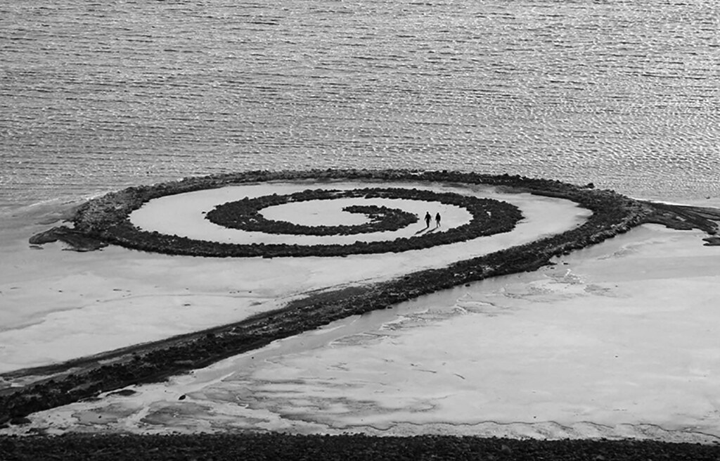 The art and place. Spiral Jetty by Robert Smithson. 1970