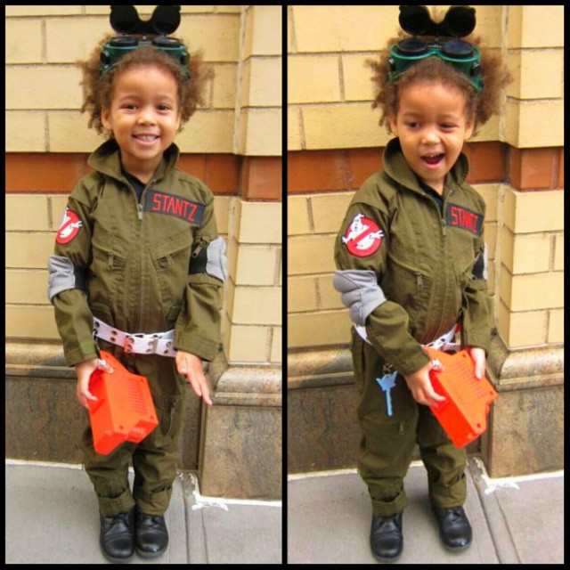 On her way to school in her complete #Ghostbusters Stantz #Halloween costume. I broke 2 needles #sewing those elbow pads last night but so worth it for the joy on her face. Containment unit is a vintage 1980s toy my aunt still had in her basement.