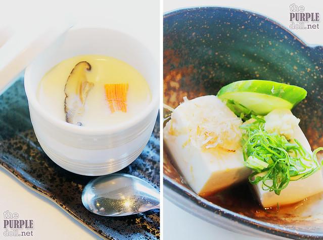 Chawan Mushi (P100 Ala Carte; P75 Add-on) and Hiyayakko Tofu (P95)