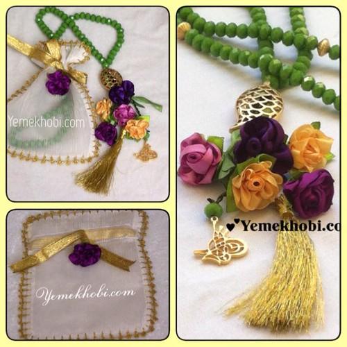 tesbih süsleme menekşe renkleri menekşe rengi kurdeleden gül gül yapımı elde çiçek yapımı el yapımı tespih