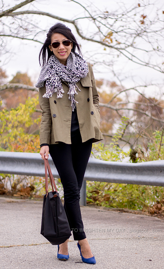 animal print scarf, sage green swing jacket, blue suede pumps