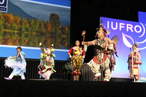 Nino Reyos and Twoshields Production Co. perform native dances for the opening ceremony at the International Union of Forest Research Organizations in Salt Lake City. (U.S. Forest Service)