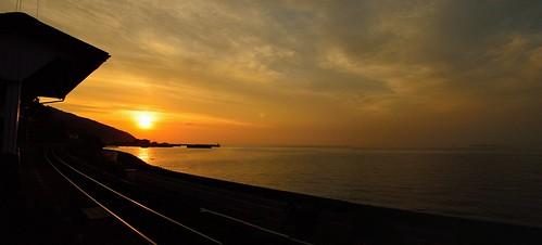 sunset japan seashore 夕景 海 愛媛 予讃線 下灘