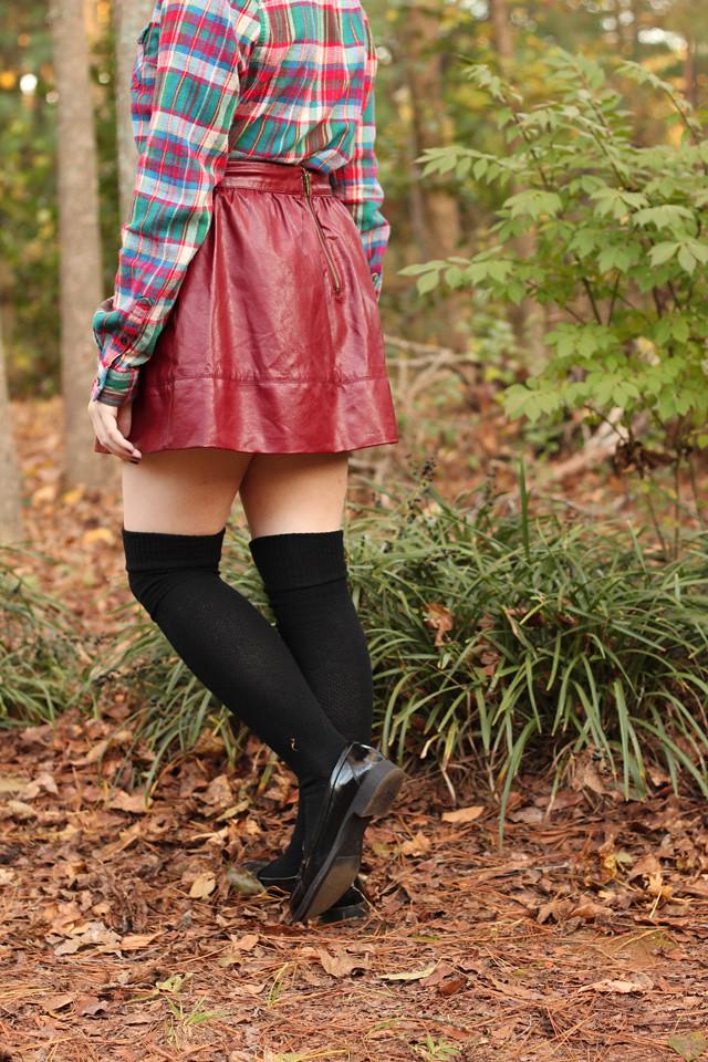 Maroon Leather Mini Skirt and Black Knee Socks