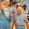Found Uncle Bobby's pic in UNC basketball museum this wknd. He played 1939-42, and this shot was from the century game only 4 years ago. Bobby is 94 and in incredible shape; he plays tennis several times/week with men 15 years younger. #livinglegend #high