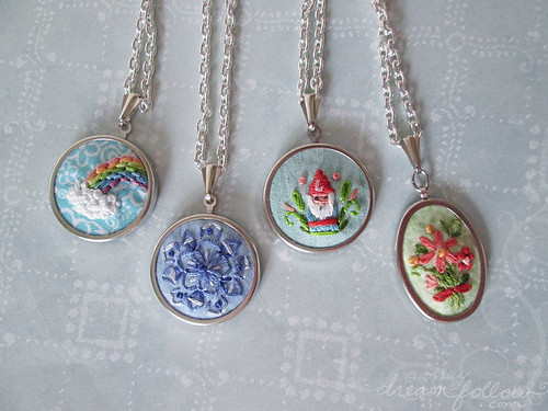 new mini embroidered necklaces