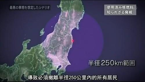 NHK製作的「核廢料何去何從~追蹤.核廢燃料」,節目中以4號機核廢燃料為例,如果出事,光是強制避難範圍將遠達半徑250公里